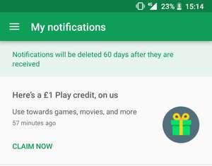 Free £1 Google Play credit (possibly account specific)