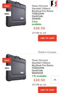 Thule Sleeves/cases/bags for laptops £20.50 @ Stuff