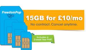 15GB Data - Unlimited Minutes & Texts - 30 Days Sim @ FredomPop £10 Month