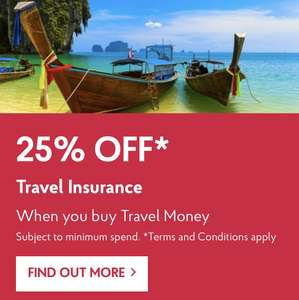 25% off Post Office Travel Insurance.