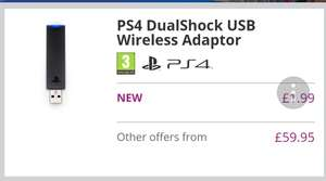 PS4 wireless adapter @ Game for £1.99