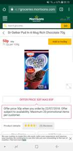 Dr Oetker Pud In A Mug scanning at 35p at Morrisons