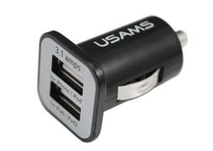 USAMS Car Charger with Dual USB Ports 3.1A Fast Charging - 6 month warranty 79p @ zapals