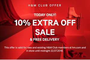 Extra 10% off h&m sale till midnight 22/7 with free delivery for club members.