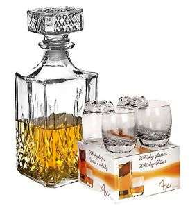 4 x 255ml Glass Whiskey Wine Tumblers & Square Glass Decanter Bottle Boxed Set £9.99 Ebay / daily-deals-ltd
