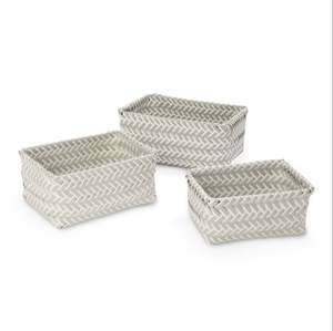 Grey & White 3L Plastic Basket Set of 3 now £4 @ B&Q