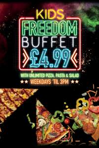 Pizza Hut unlimited lunchtime buffet on all summer holiday weekdays until 3pm £4.99 kids / £7.50 adults