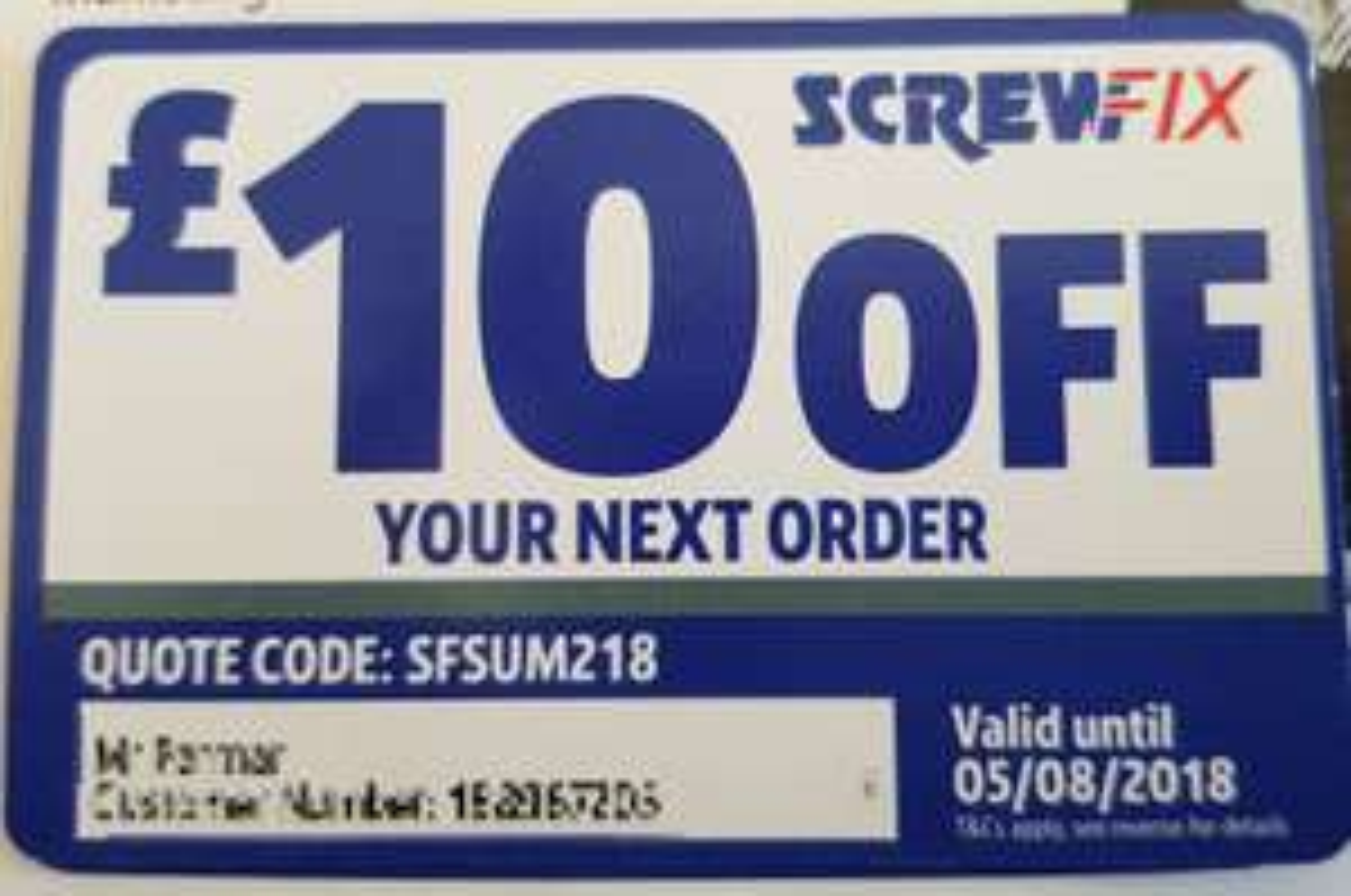 £10 off next order @ Screwfix