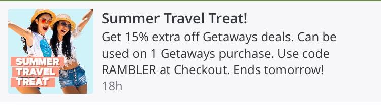 Summer Travel treat @ Groupon - 15% off getaways