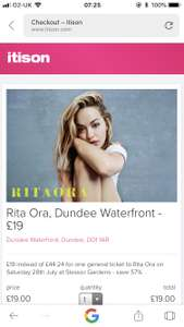 Rita ora tickets Dundee on Saturday 28th July £19  ITISON