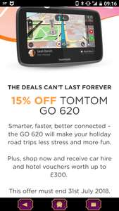 Shop with 15% discount w/c and receive car hire and hotel vouchers worth up to £300 @Tomtom