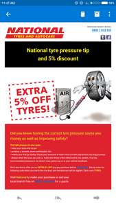 National Tyres 5% off all tyres.