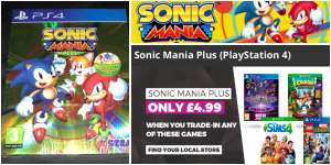 'Sonic Mania Plus' physical disc edition (Includes art book and Sega Mega Drive reversible cover) for PlayStation 4 / PS4. £4.99 with trade-in