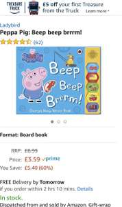 Peppa Pig Beep beep brrrm sound book only £3.59 (Prime) £6.58 (Non Prime) @ Amazon