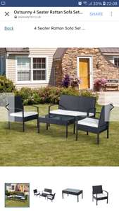 4 Seater Rattan Sofa Set wirh Cushions - Wayfair £136.99