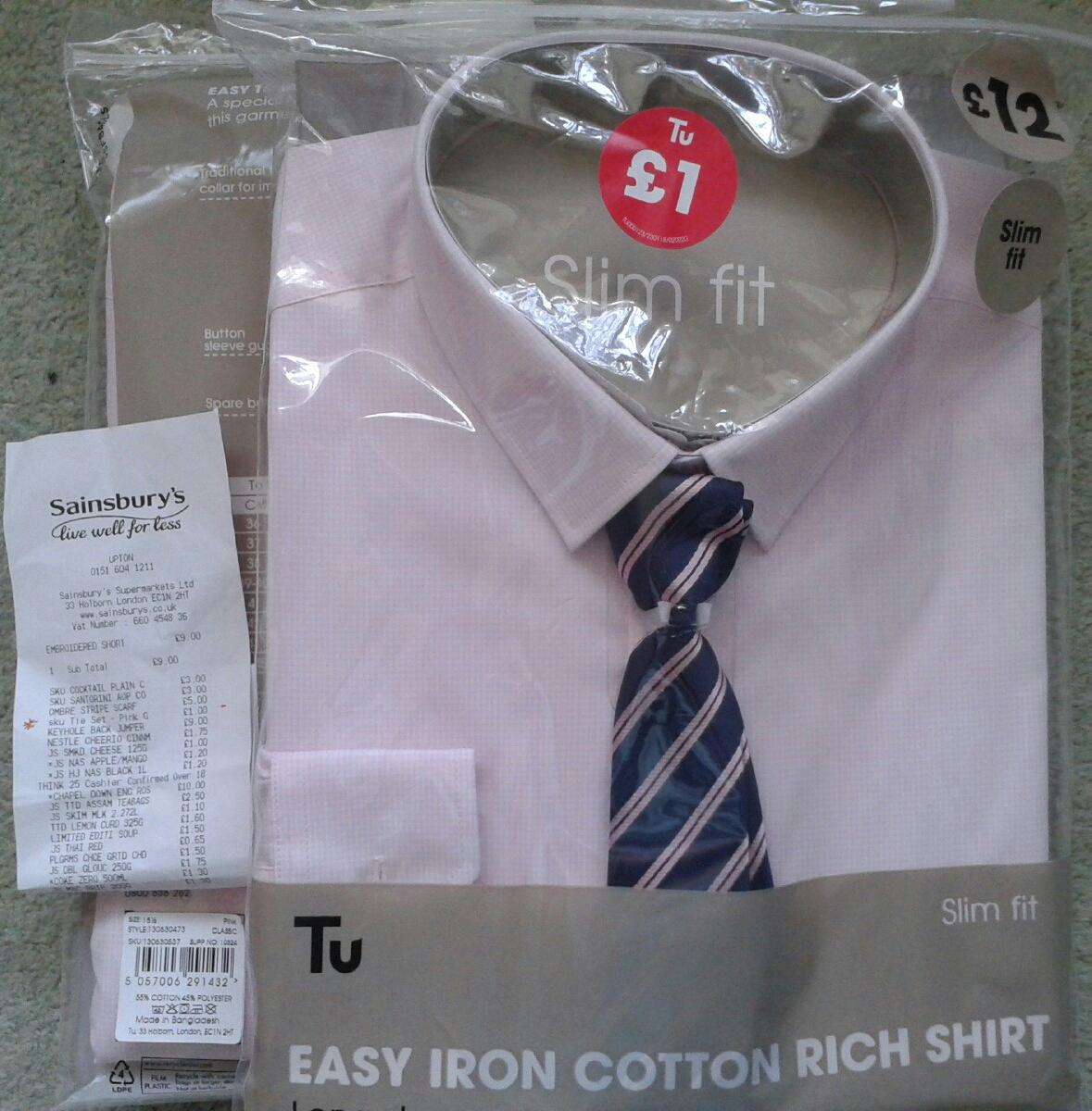 Tu Men's Slim Fit Long sleeve 'Cotton Rich'  Shirt & Tie set £1, in-store at Sainsbury's, Upton.
