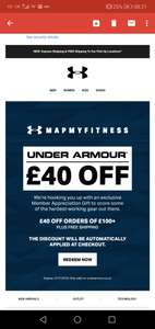 £40 off £100+ with Under Armour (invite only?)