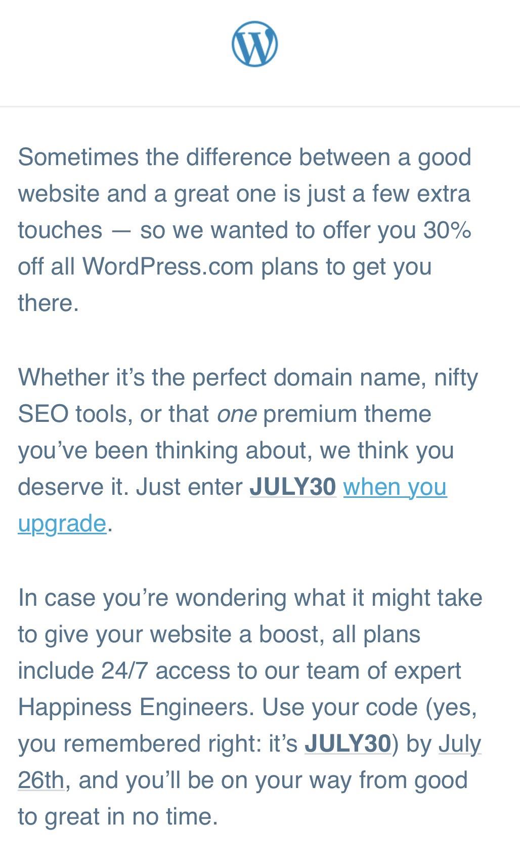 30% off all Wordpress plans until 26th July