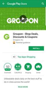20% off with code using the Groupon app