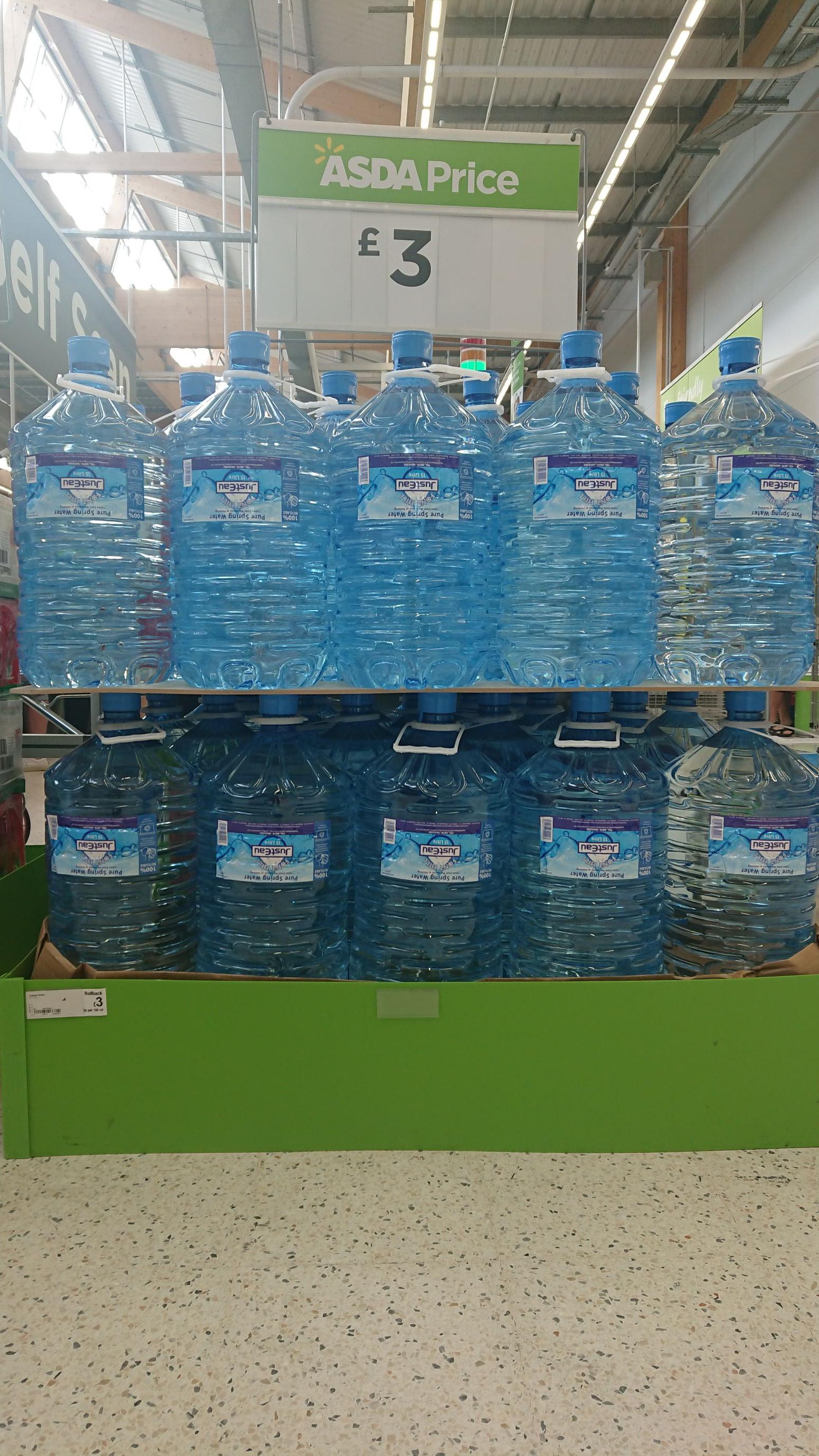 15L water £3 at Asda instore