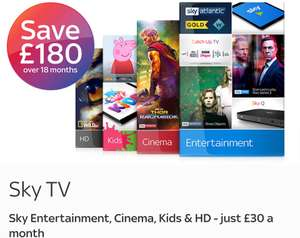 Sky Q with Entertainment, Cinema, Kids all in HD on 18 mths contract for £30 a month