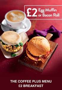 THE COFFEE PLUS MENU £2 BREAKFAST @ Costa Coffee