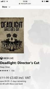 Deadlight Directors cut (Xbox one) @ Microsoft store £2.40 with Gold