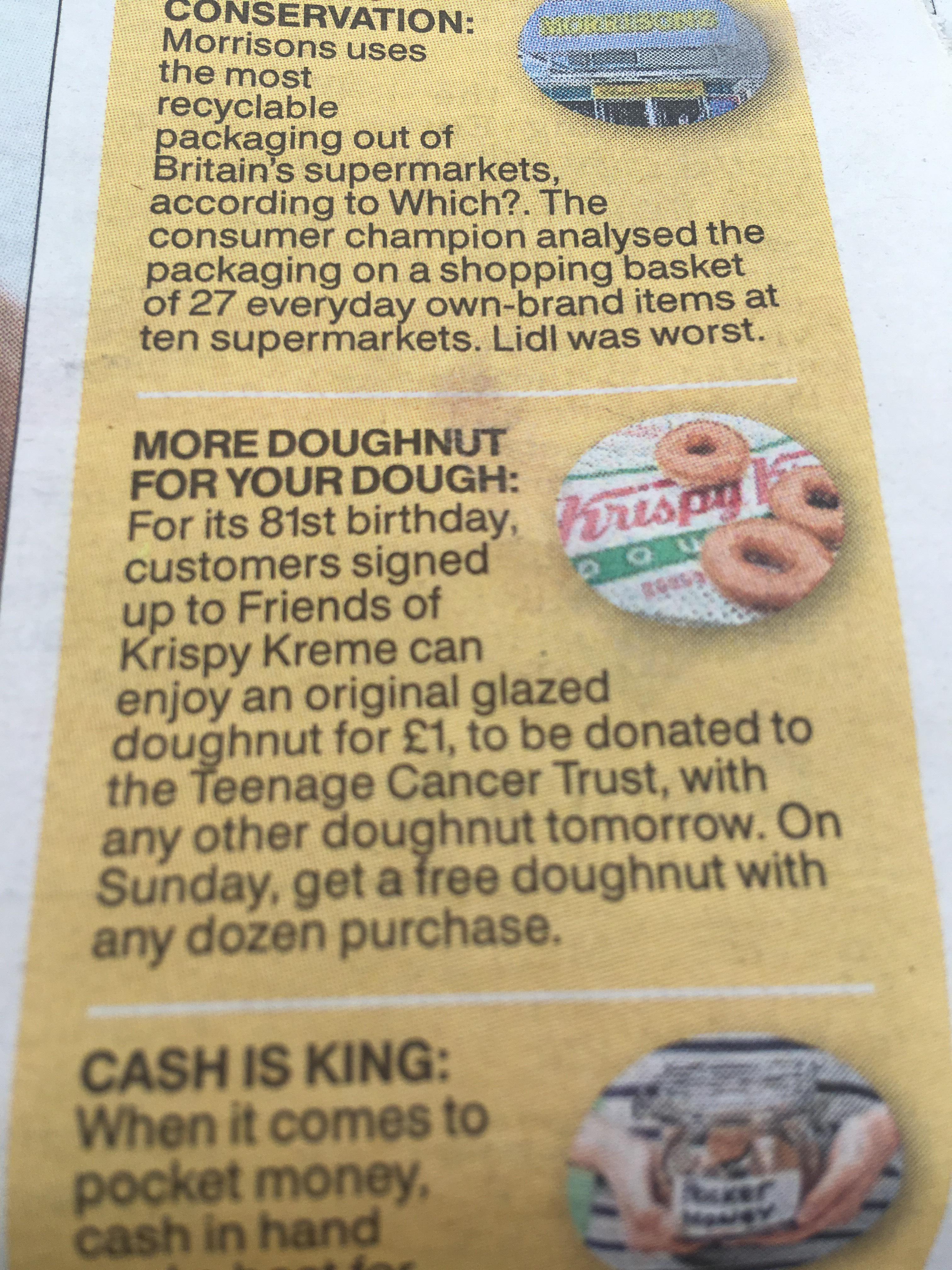 Krispy Kreme 81st birthday deals if signed up to loyalty scheme