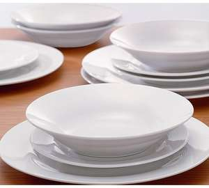 12 Piece Porcelain Dinner Set - White £7.99 @ Argos Free C&C