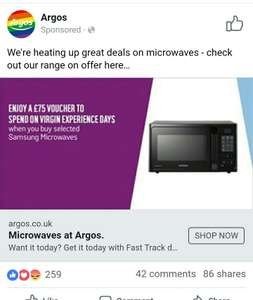 Free upto £75 virgin experience voucher when you buy selected samsung microwaves @ argos