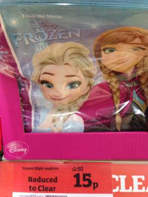 Frozen and Avengers napkins 20 pack reduced from £1.50 to 15p and Avengers 10 pack of plates 15p in-store in Sainsbury's Cannock.