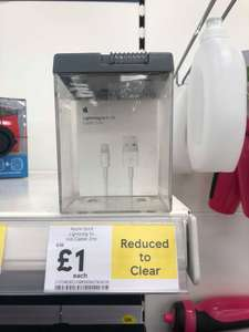 Apple original 1 Meter lightning / charging USB data cable for iPhone X,8,7,6,5 / iPod / iPad was £19 now reduced to clear for £1 at Tesco