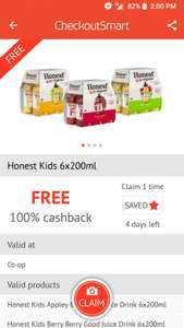 Honest Kids drink 6x200ml for free at Co-op via Checkoutsmart