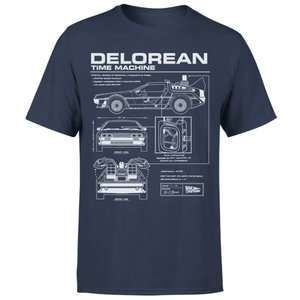 Men's / Women's Back To The Future DeLorean Schematic T-Shirt in Navy was £17.98 Del now £8.99 Delivered w/code @ IWOOT
