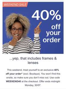 40% off glasses direct orders