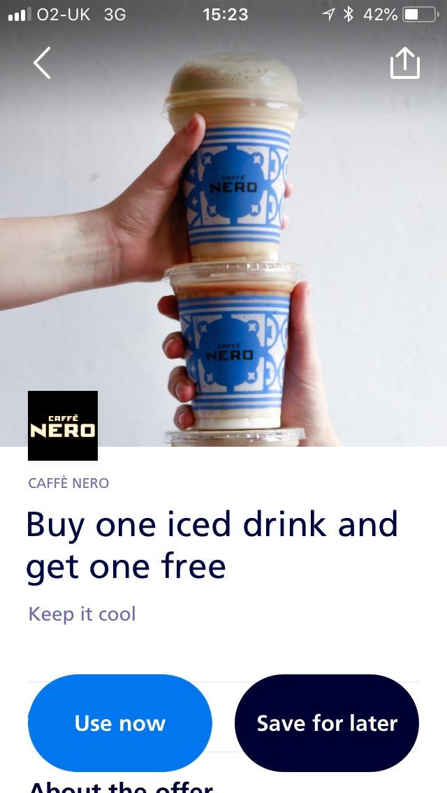 Buy one get one free Caffè Nero @ o2 priority