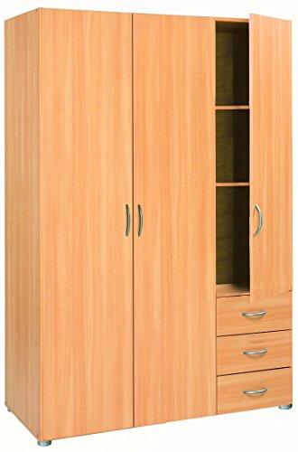 Lol3 3-Door 3-Drawer Wardrobe, Chipboard, Essential Beech, 121 x 51.4 x 183.5 cm  at just £67.60 @ Amazon