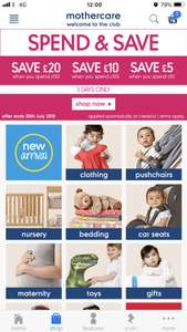 Mothercare save and spend event - upto £20 off. Ends 30th July