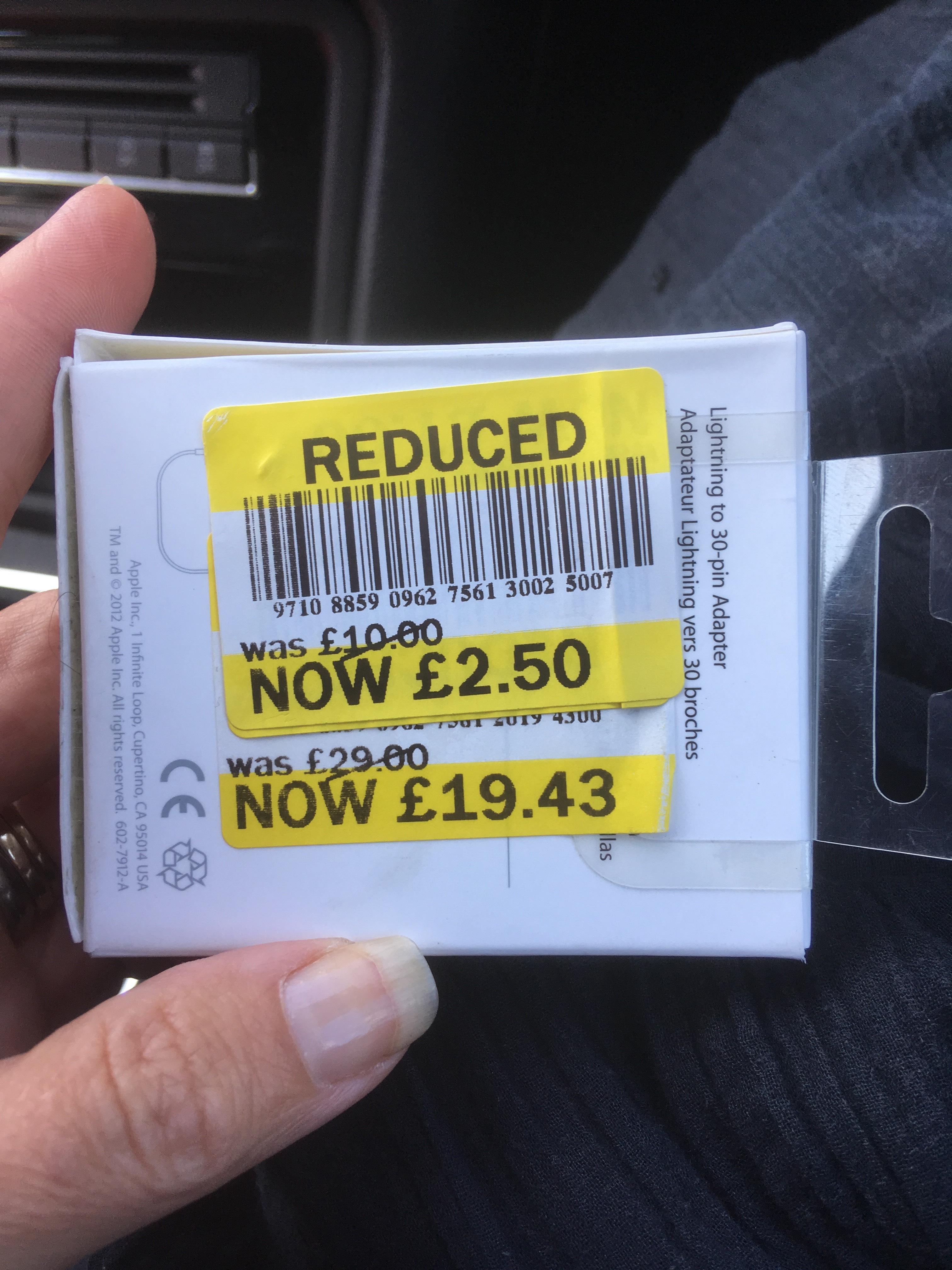 Genuine apple lightening to 30 pin adapter £2.50 Tesco instore (Portland)