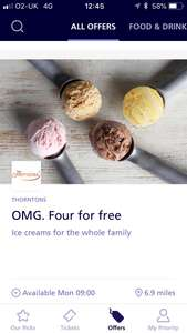 FREE 4 scoops of Thornton's Ice cream via O2 priority app from Monday