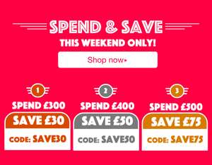 £75 off £500 (CODE: SAVE75), £40 off £300 (Code: SAVE40), £10 off £100 (Code: SAVE10) at campingworld.co.uk - includes sale items!