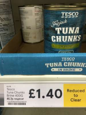 Tesco Tuna Chunks In Brine Or Sunflower Oil RTC £1.40 From £2.75 For 400g.