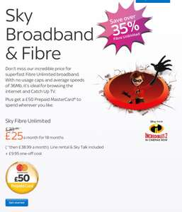 Sky Fibre Unlimited £25pm x 18 month contract = £450 (£17.70 pm after £80 cashback and £50 MasterCard)