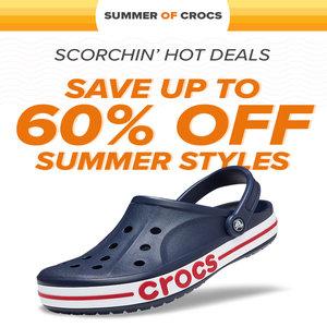 Upto 60% Off Crocs + Free Delivery @ Crocs -  men's / women's / kid's styles
