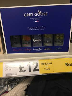 Grey goose vodka 5 flavours x 50ml £12 at in clearance instore Tesco Greenfield (also 4 premium gin £9.60 & 3 whiskey)