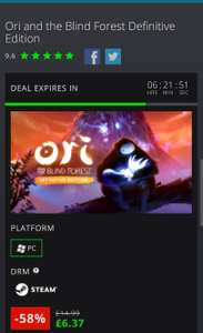58% off of Ori and the Blind Forrest: definitive edition £6.37 @ GMG