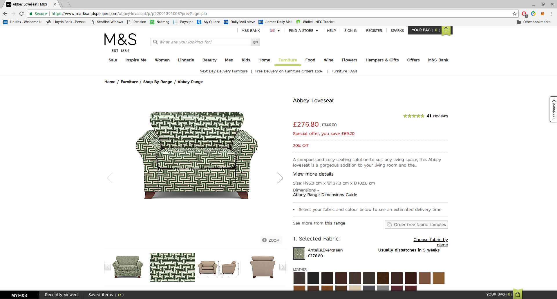 M&S Abbey Loveseat Armchair £276.80
