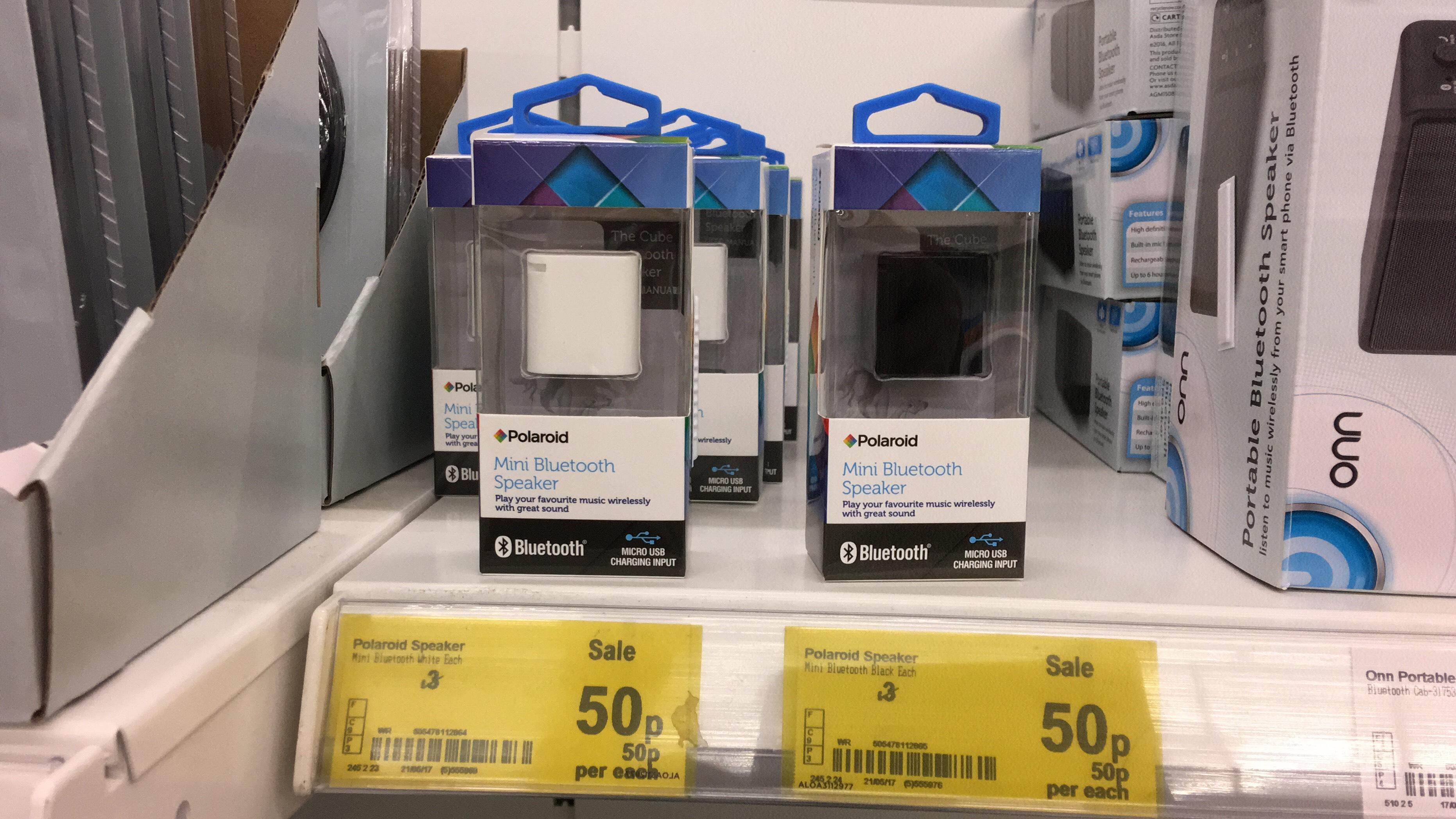 Polaroid Mini Bluetooth Speaker was £10 then £3 now 50p at Asda