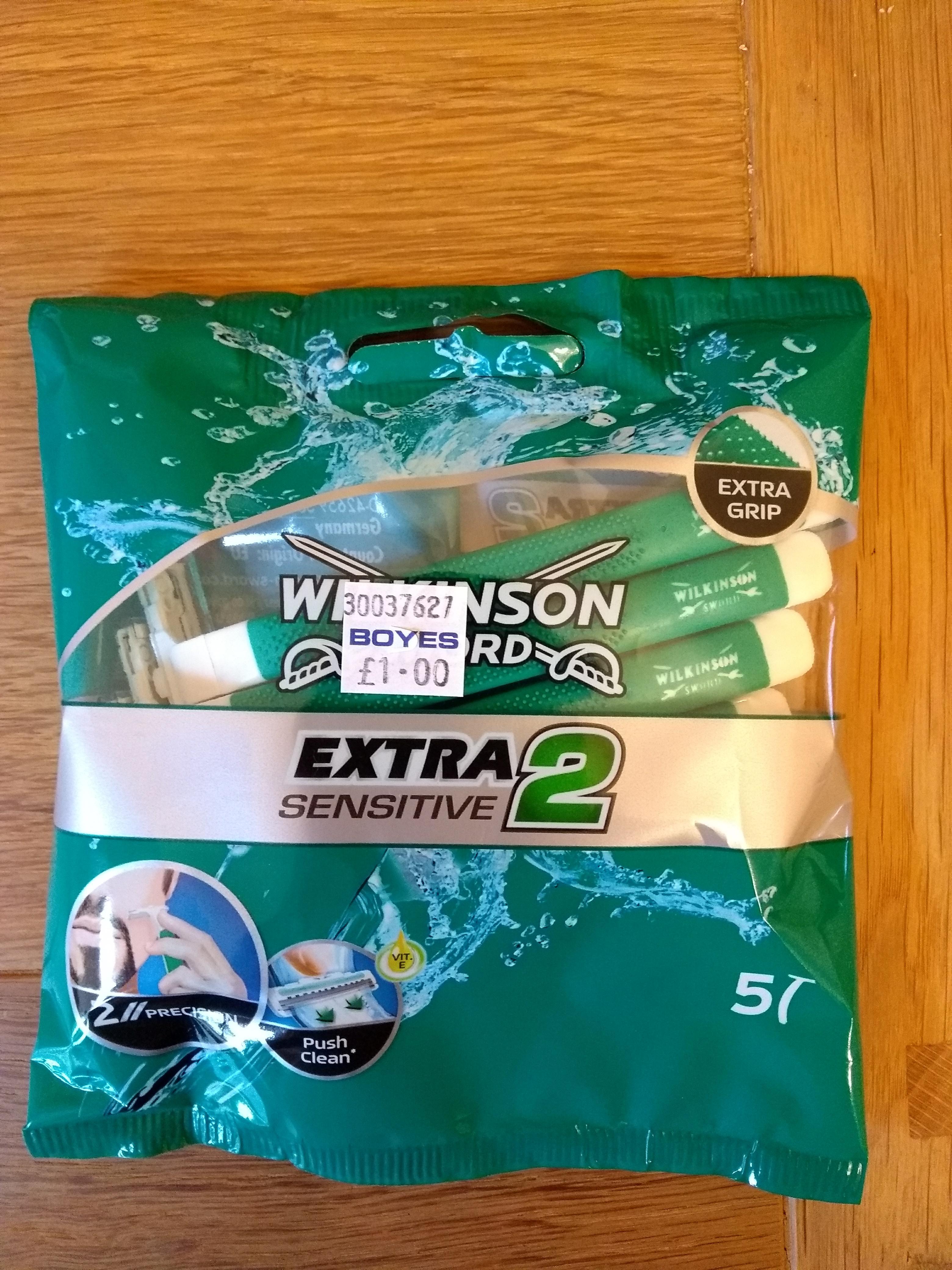 Wilkinson Sword Extra Sensitive 2 pack of 5 blades £1 - BOYES