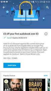 £3 off first audiobooks over £3 with Google play